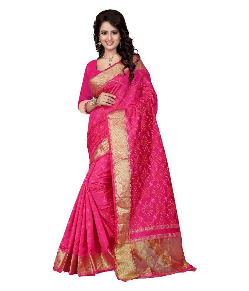 Pehnava Red and Pink Cotton Saree
