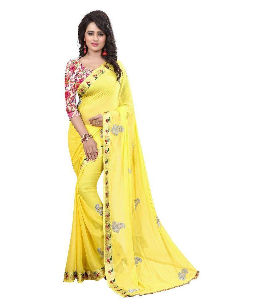 London beauty Yellow Chiffon Saree