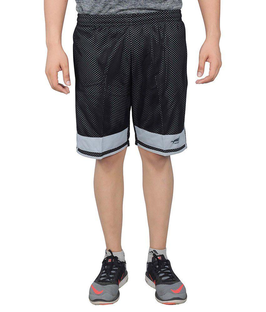 NNN Black Polyester Sports Shorts