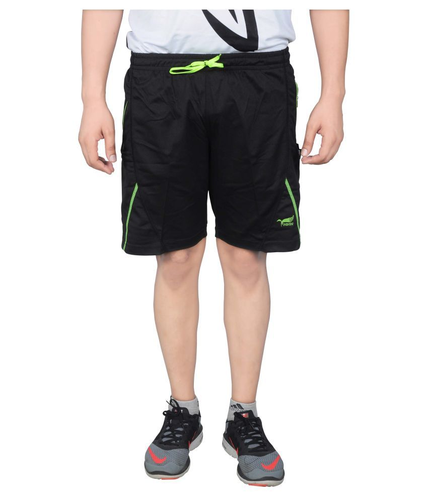NNN Black Polyester Sports Shorts