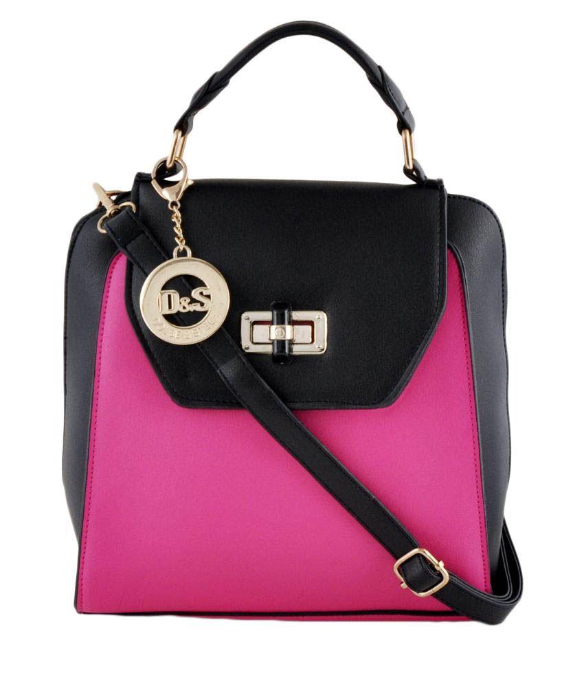Dolse & Stela Pink Faux Leather Satchel Bag