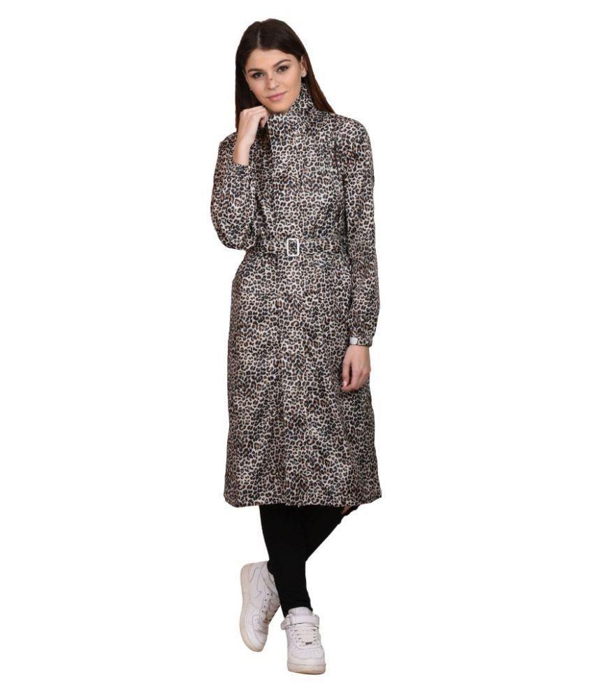 Versalis Gray Polyester Long Raincoat