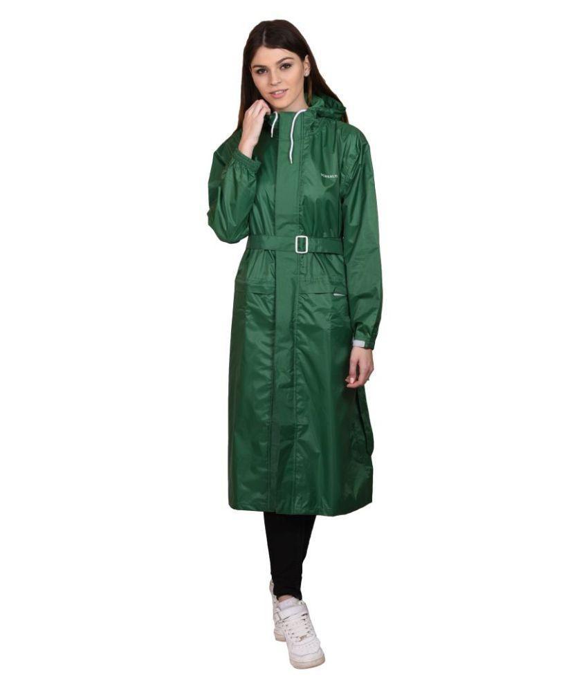Versalis Green Polyester Long Raincoat