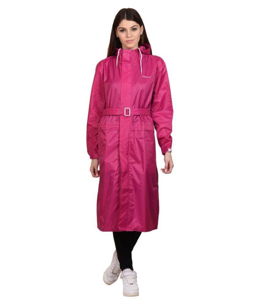 Versalis Pink Polyester Long Raincoat