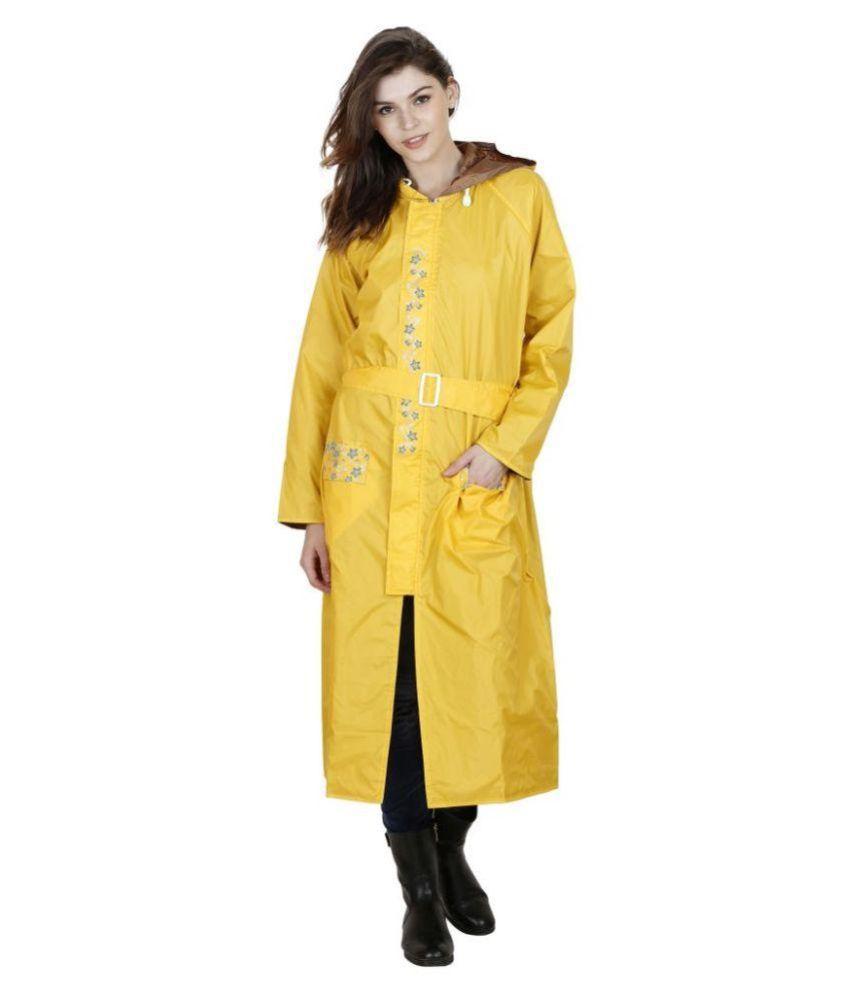 Versalis Yellow Polyester Long Raincoat
