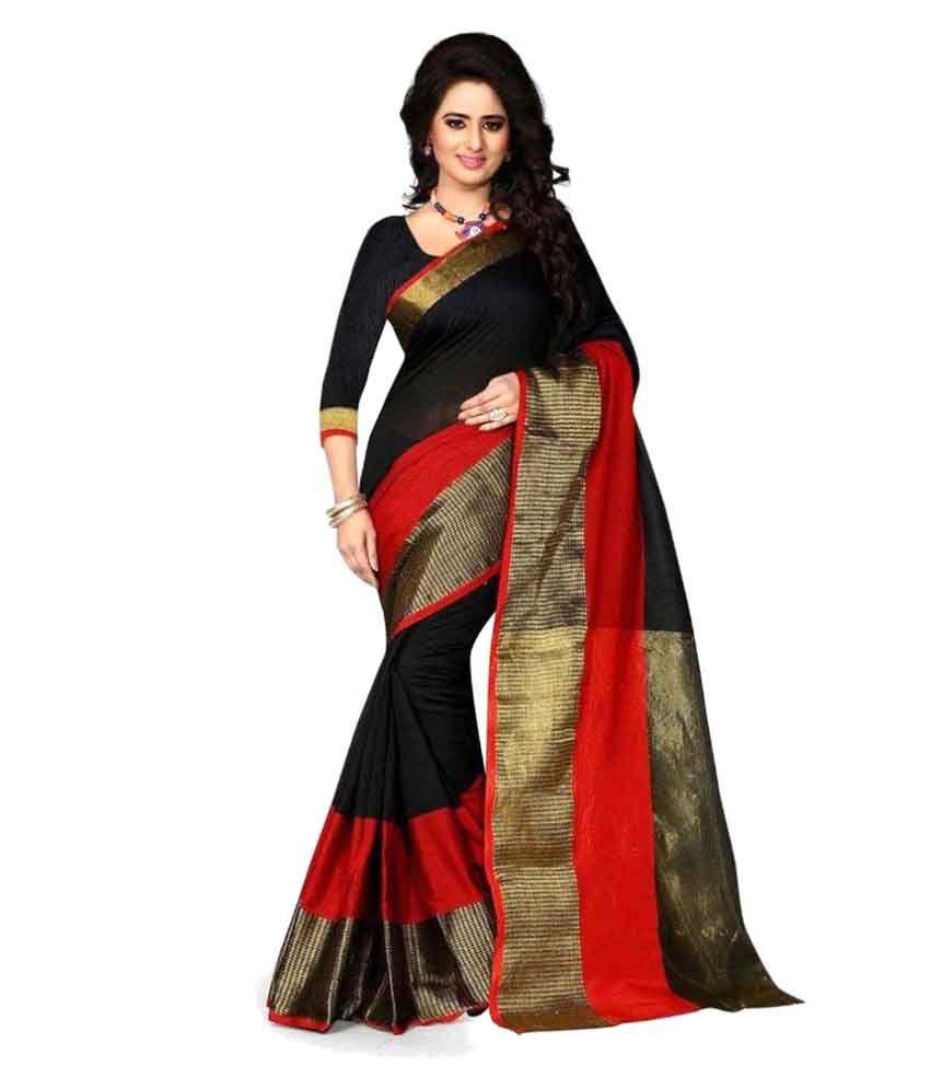 ... Kunika Sarees black Cotton Saree Online at Low Price - Snapdeal.com
