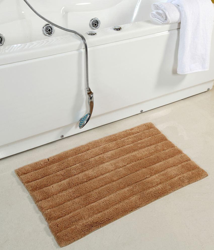 Homefurry Beige Abstract Cotton Floor Mat