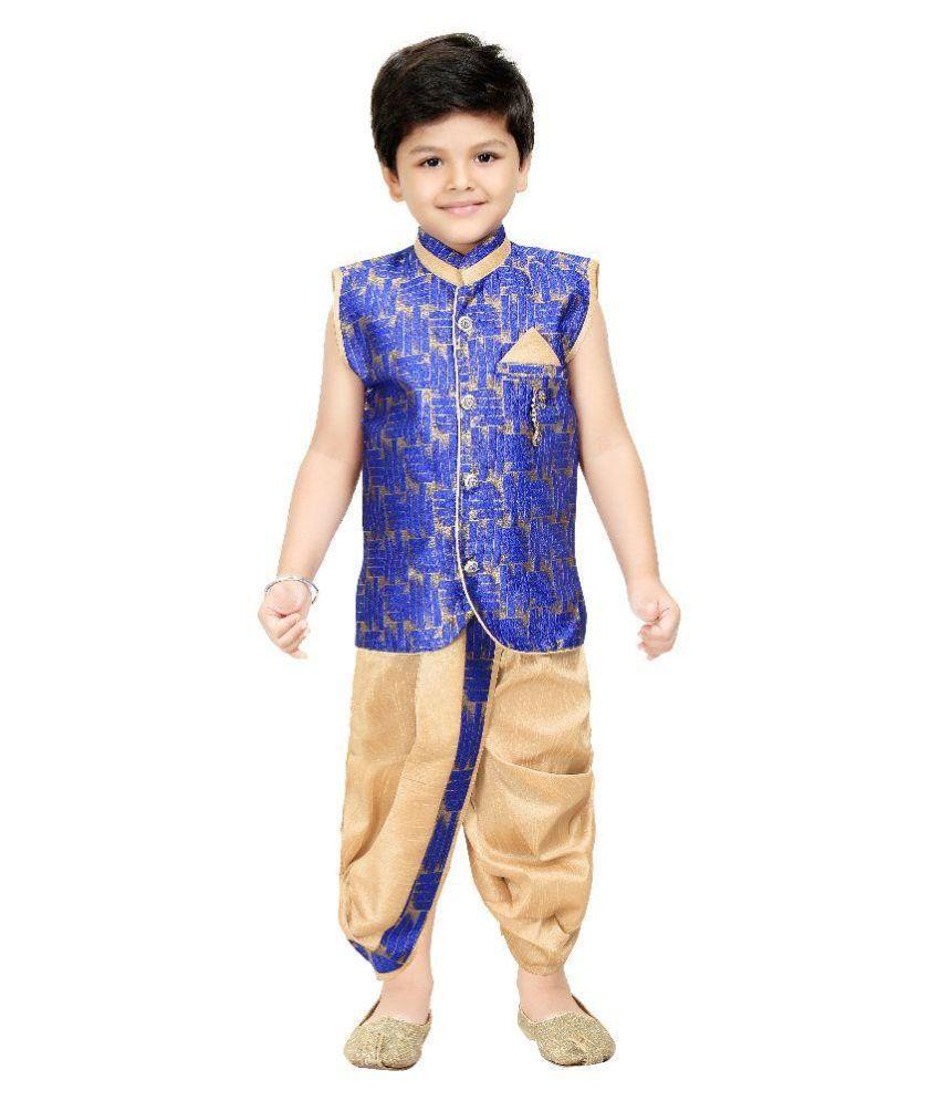 Shree Shubh Blue Cotton Blend Dhoti and Kurta Set
