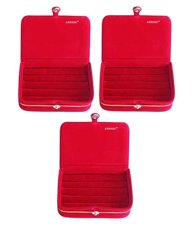ABHINIDI Red Wood Jewellery Box - Set of 3
