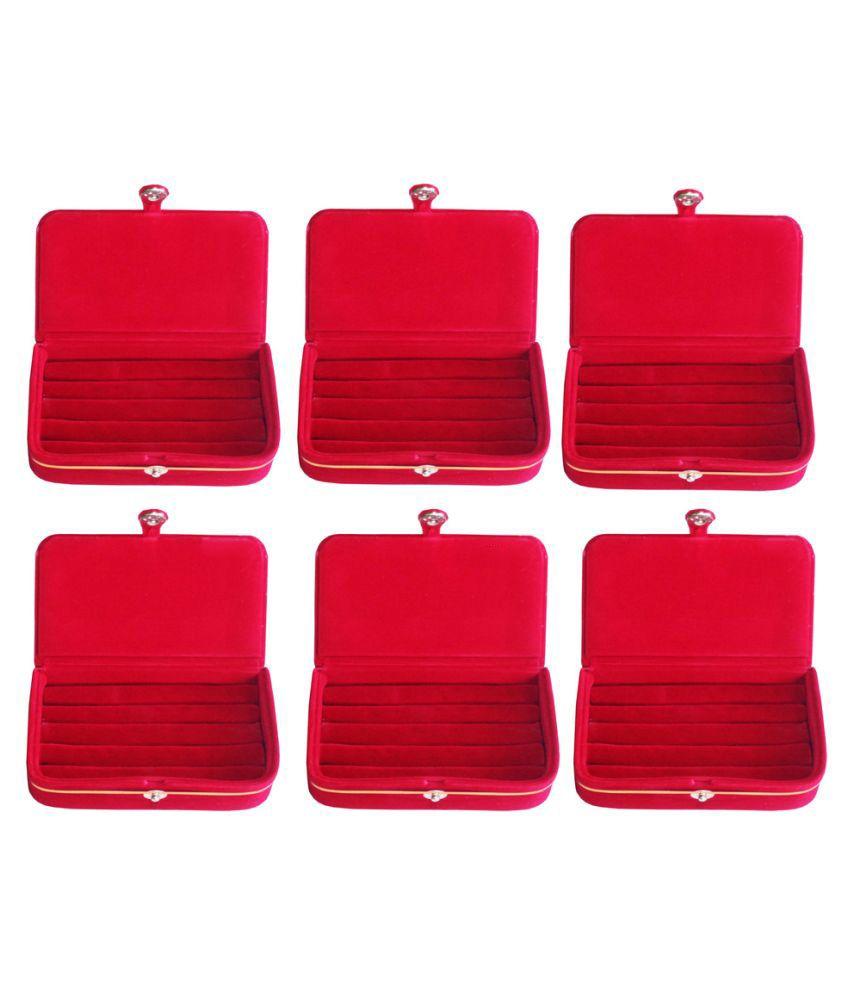 ABHINIDI Red Wood Jewellery Box - Set of 6