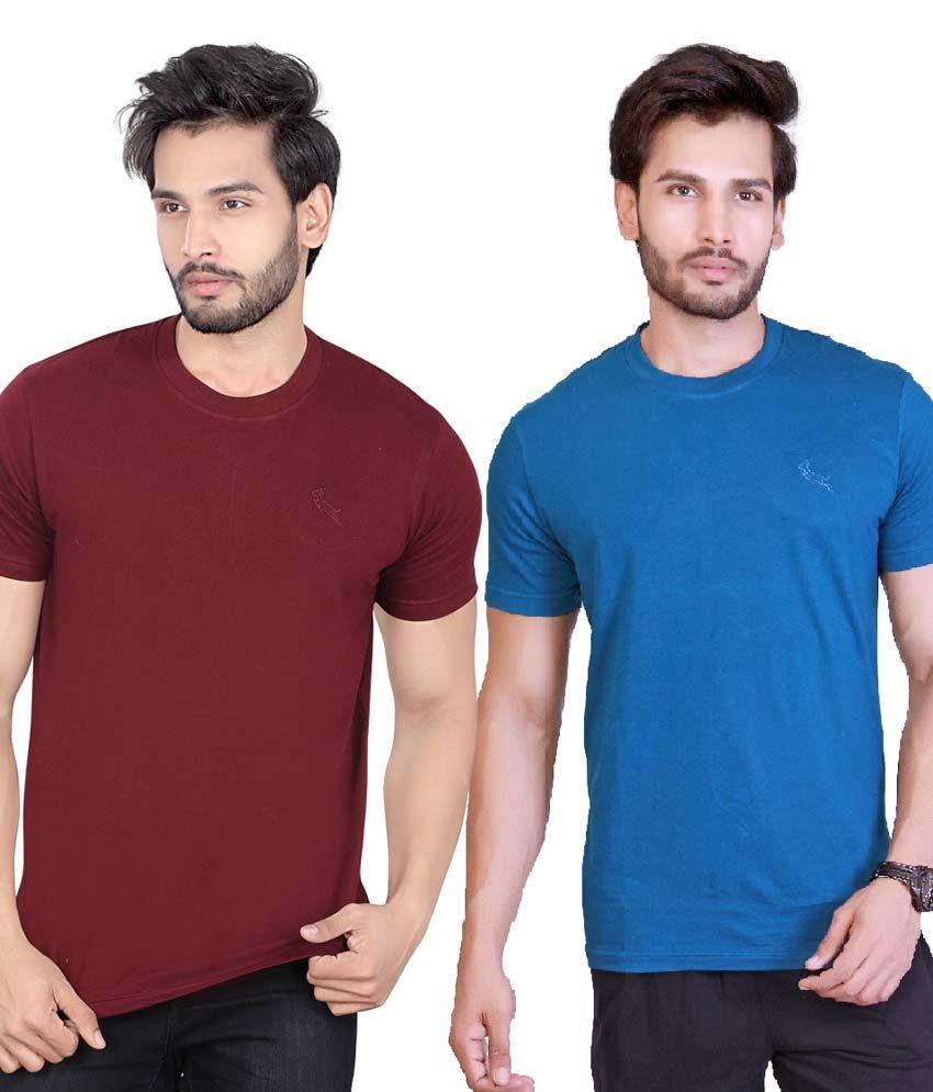 LUCfashion Maroon Round T-Shirt