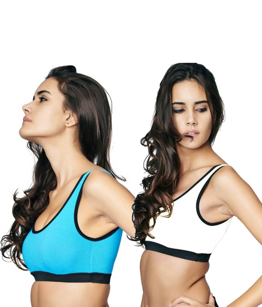 Restless Blue and White Cotton Lycra Sports Bra (Pack of 2)