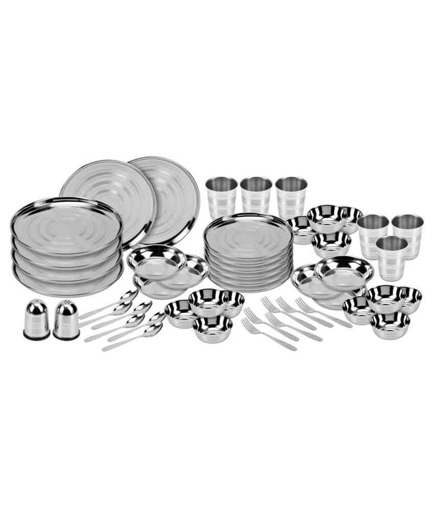 Shivom Stainless Steel Dinner Set - 50 Pcs
