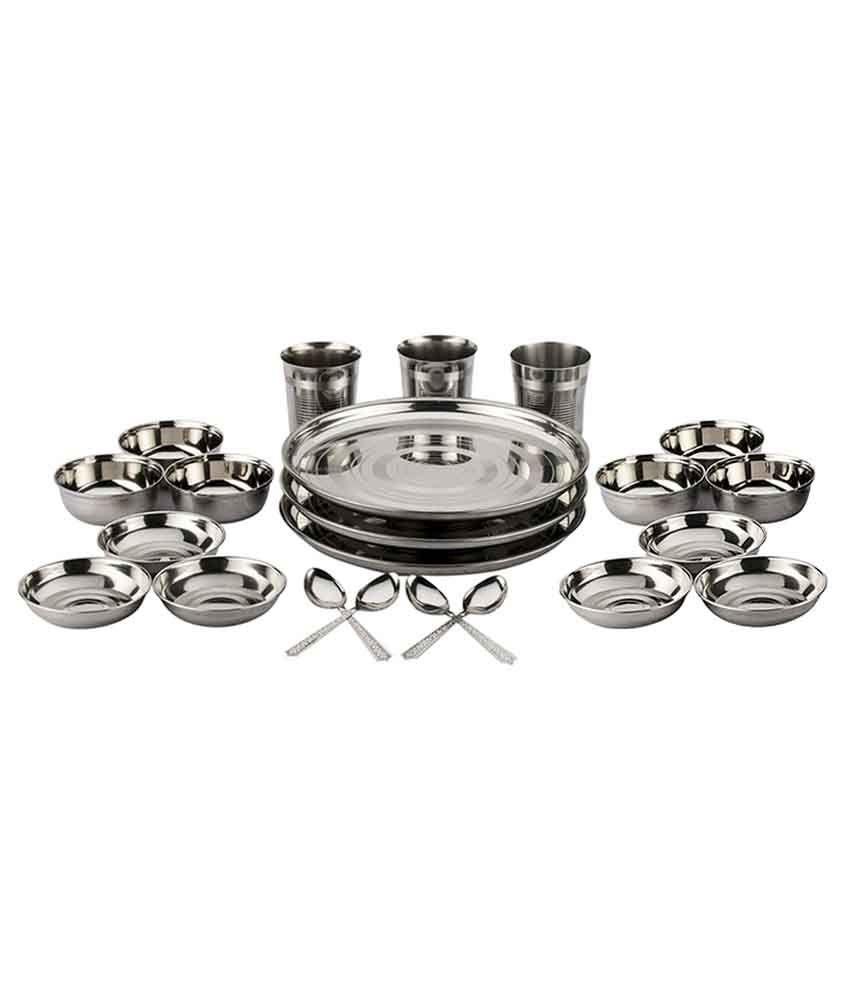 Shivom Stainless Steel Dinner Set - 22 Pcs
