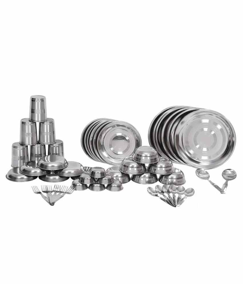 Shivom Stainless Steel Dinner Set - 50 Pcs