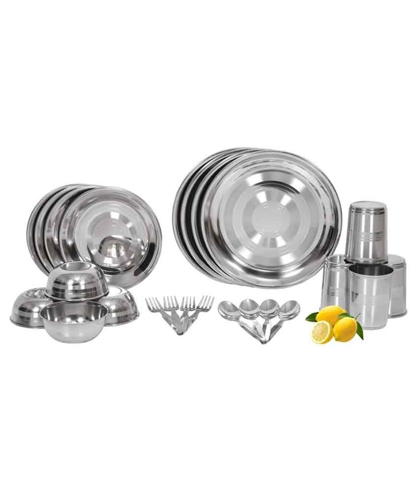 Shivom Stainless Steel Dinner Set - 24 Pcs