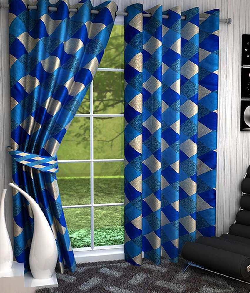 Homefab India Multi-colour Checks Polyester 3 Curtains Checks Multi Color