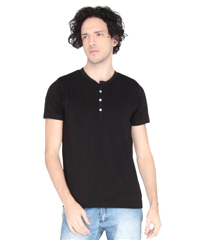 LUCfashion Black Henley T-Shirt