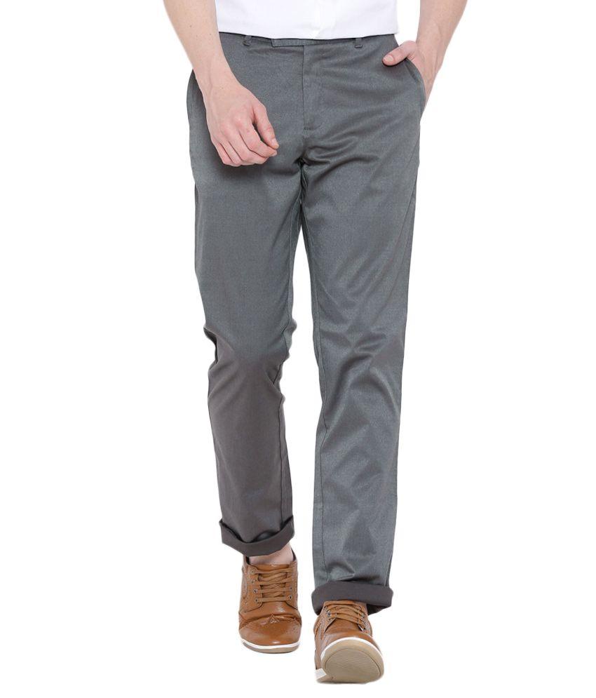 BLACKBERRYS Grey Regular Fit Formal Trousers