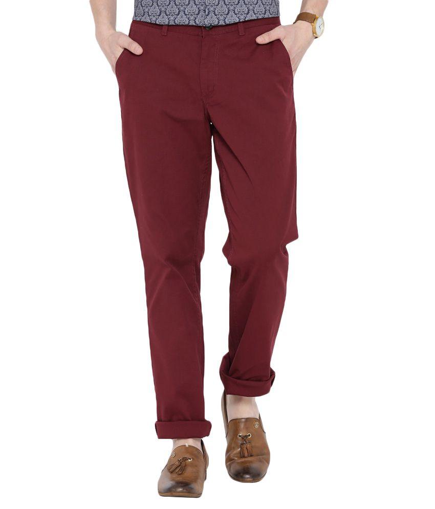 BLACKBERRYS Red Slim Fit Casual Trousers
