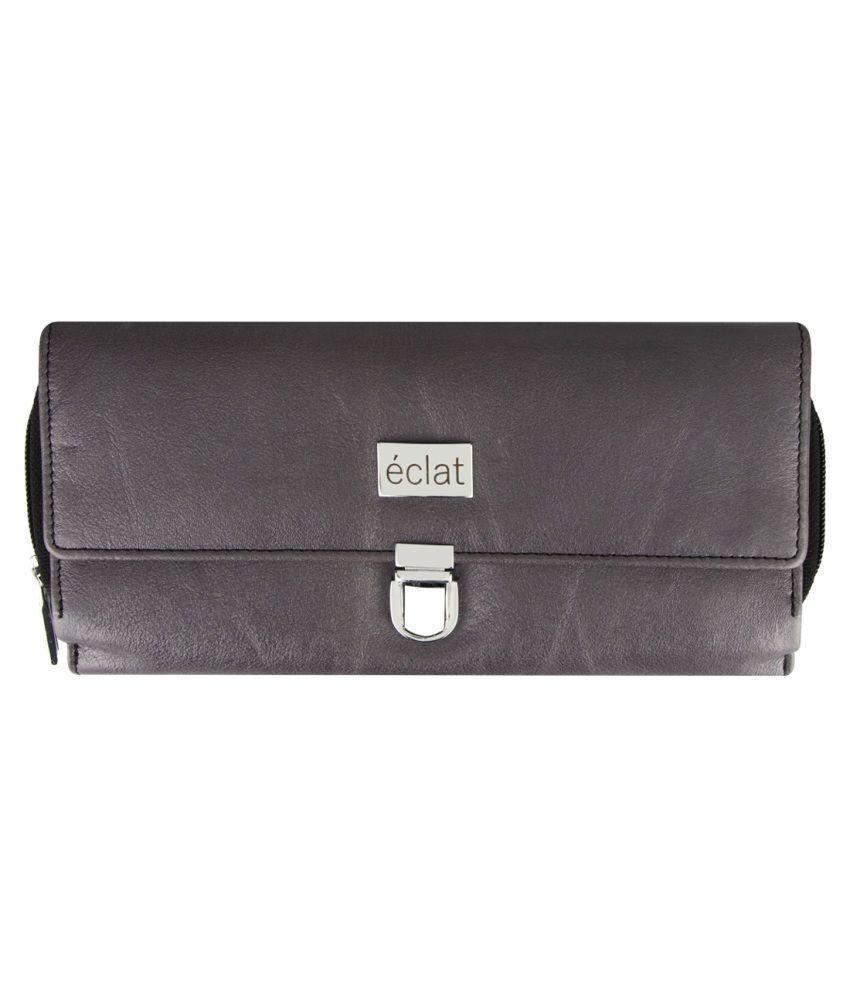 Eclat Grey Leather Wallet for Women