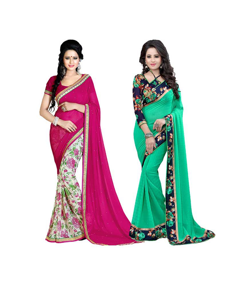 Exclusive Designer Multicoloured Georgette Saree Combos
