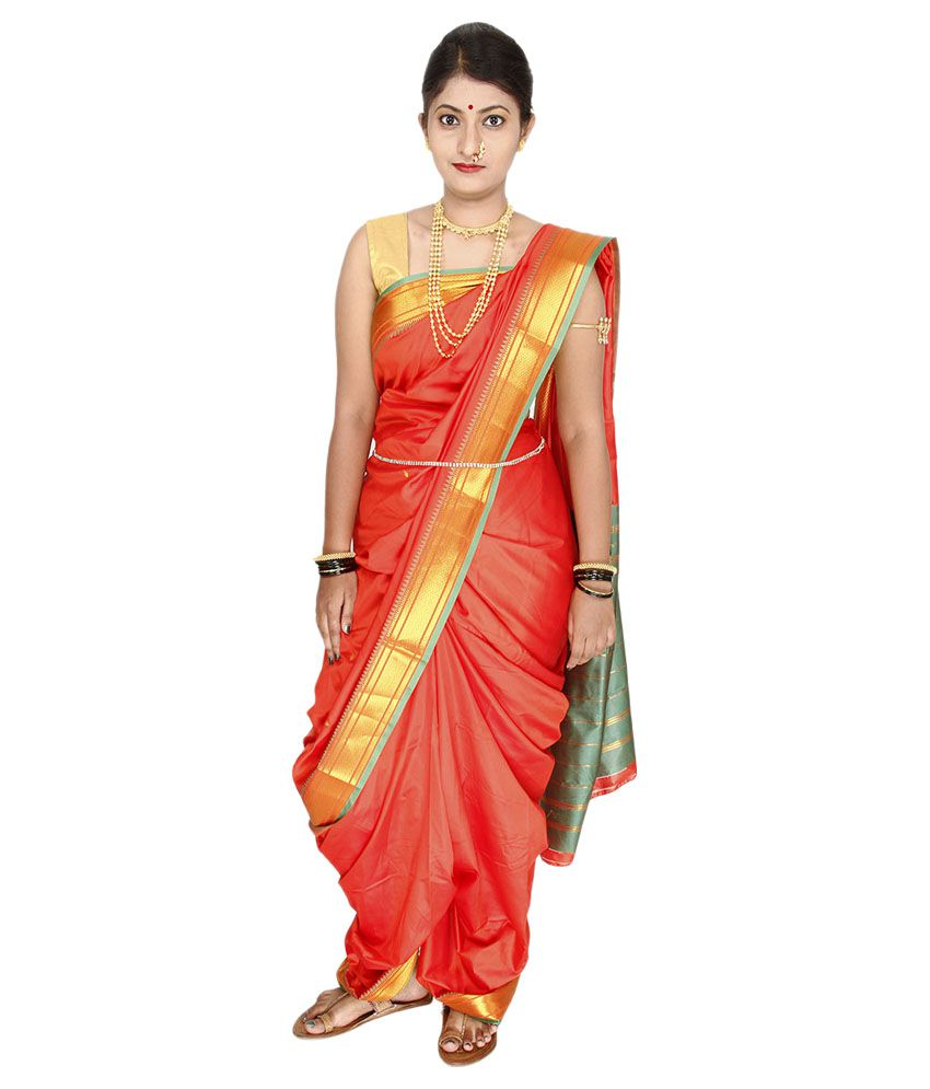 Womens Cottage Red and Beige Cotton Silk Saree