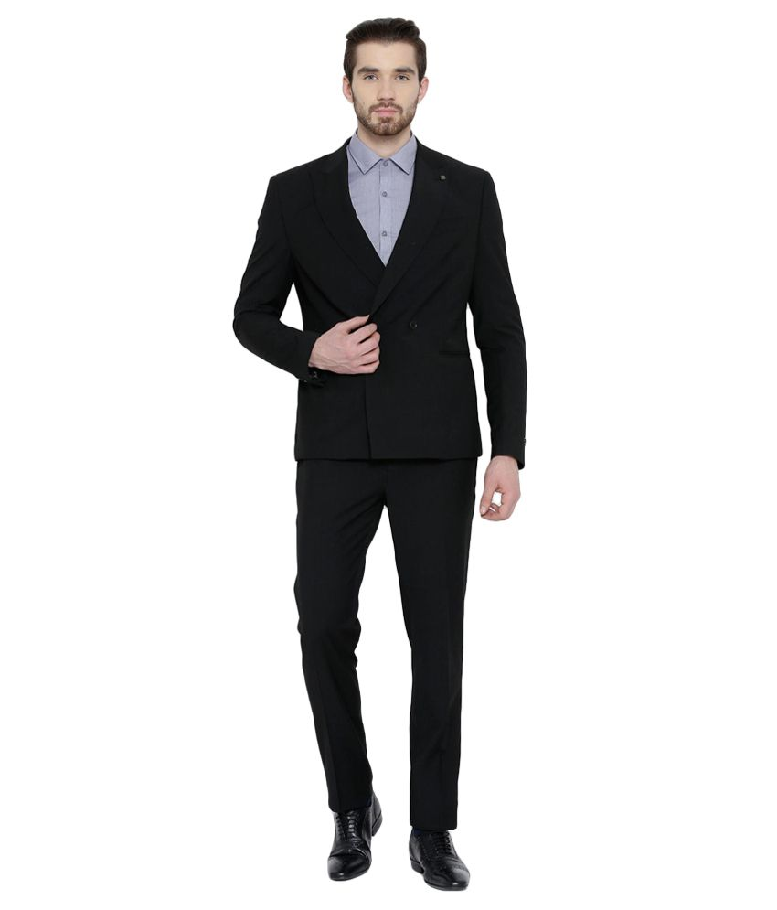 BLACKBERRYS Black Skinny Fit Double-Breasted Suit - Buy ...