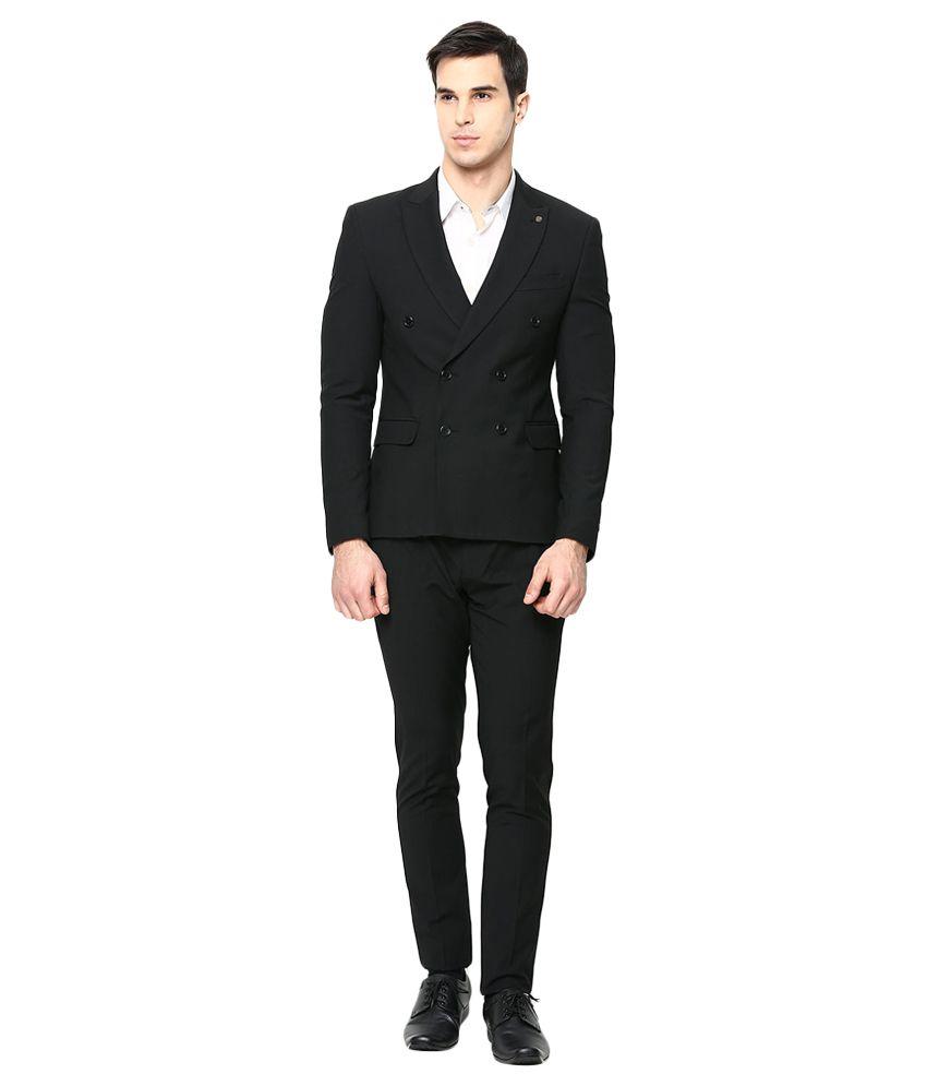 BLACKBERRYS Black Slim Fit Double-Breasted Suit