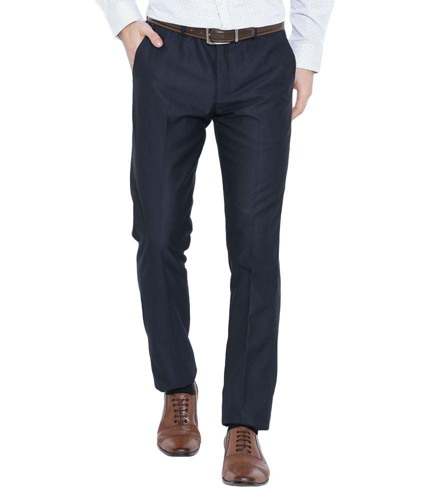 BLACKBERRYS Navy Blue Skinny Fit Formal Trousers
