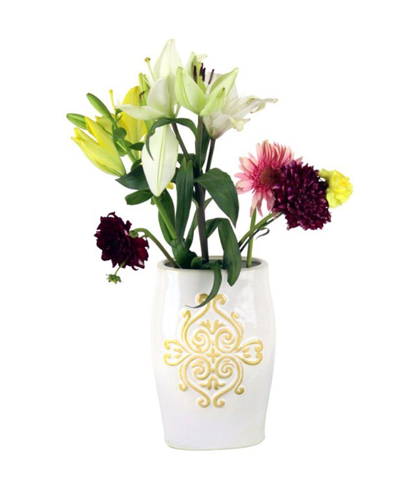 Hosley decorative cream ceramic vase with scroll design buy hosley decorative cream ceramic vase with scroll design reviewsmspy