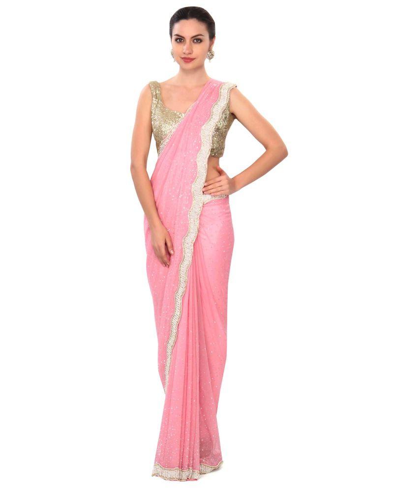Kalki Fashion Pink Georgette Saree