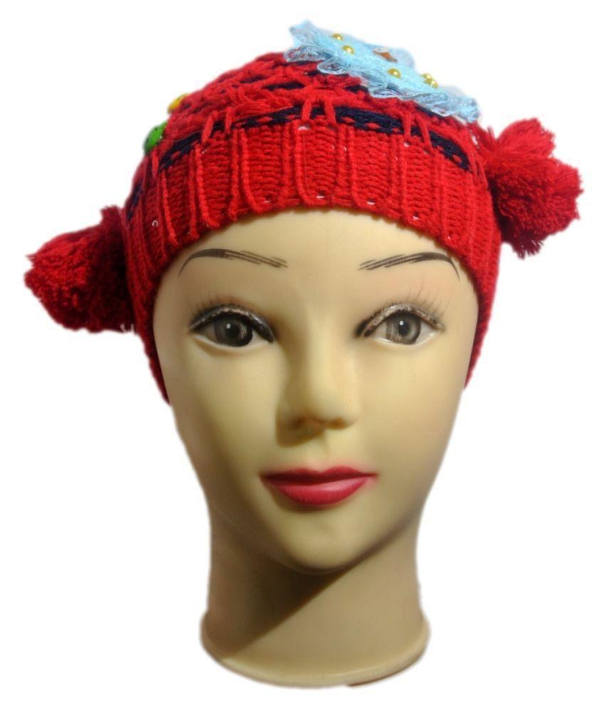 Mantra Red Woolen Kids Winter Cap