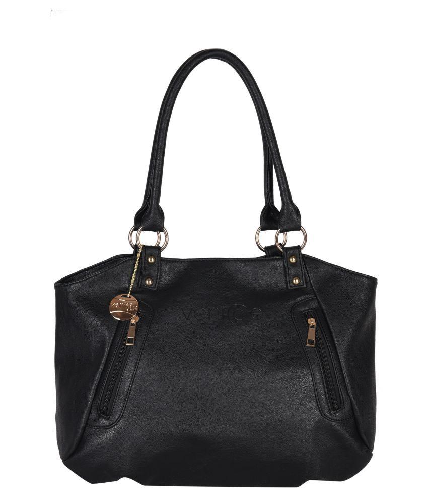 Venicce Black Faux Leather Handheld