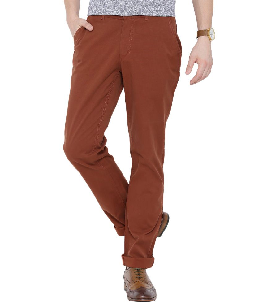 BLACKBERRYS Rust Slim Fit Casual Trousers