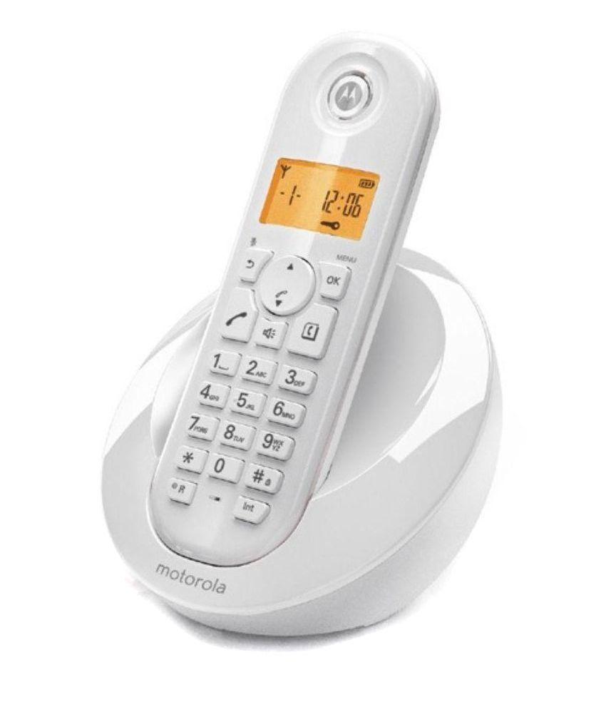 Buy Motorola C601 Cordless Landline Phone ( White ) Online