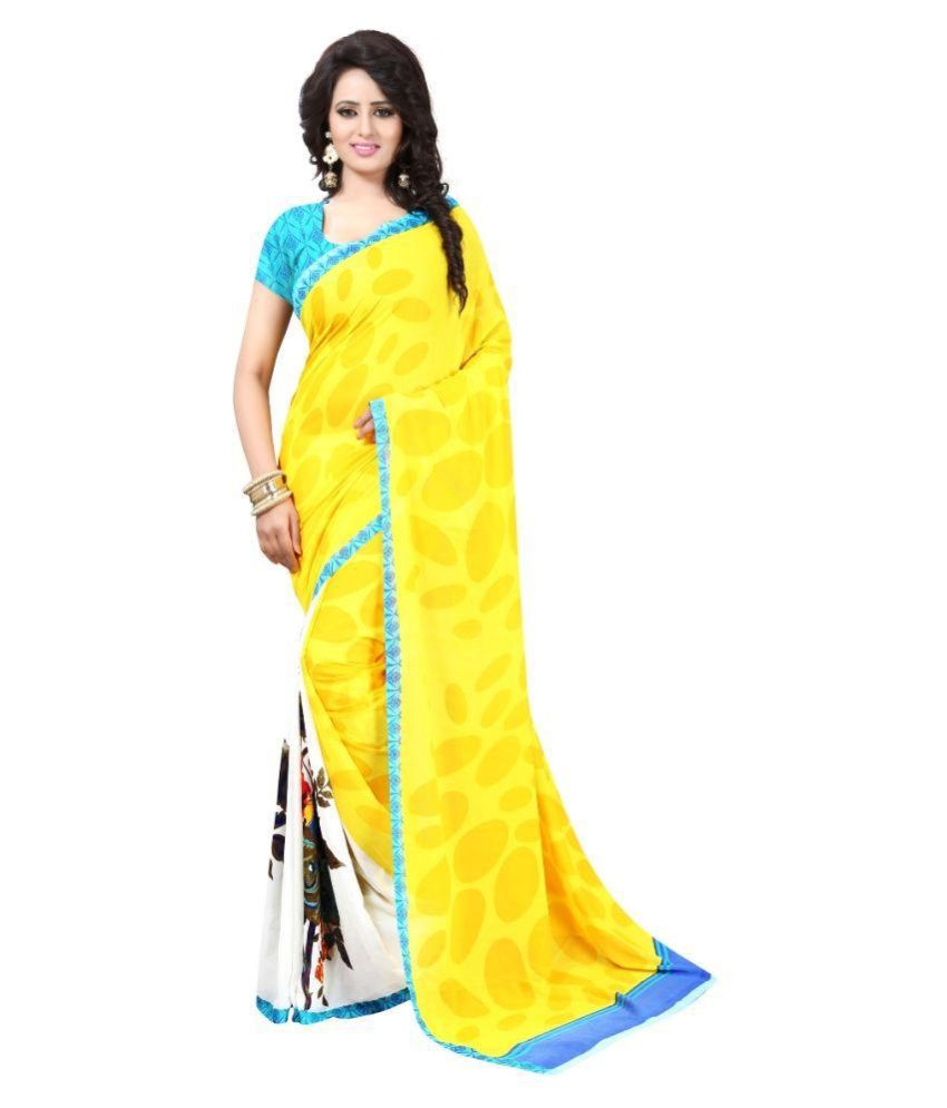 Aahira Yellow Georgette Saree