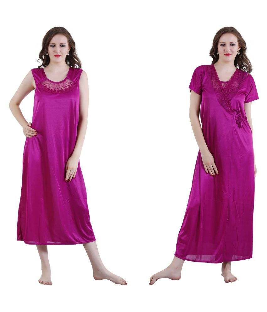 Buy Romaisa Purple Satin Nighty   Night Gowns Online at Best Prices in  India - Snapdeal c70336e9e