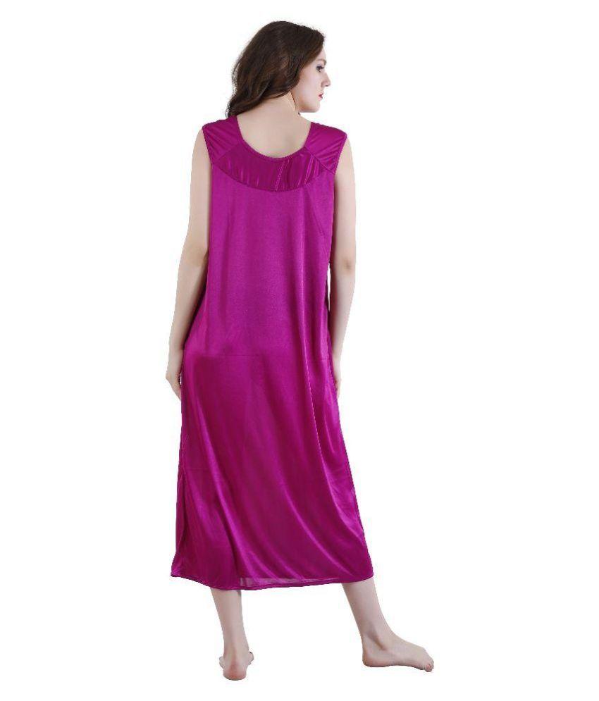 37c6e82e25 Buy Romaisa Purple Satin Nighty & Night Gowns Online at Best Prices ...