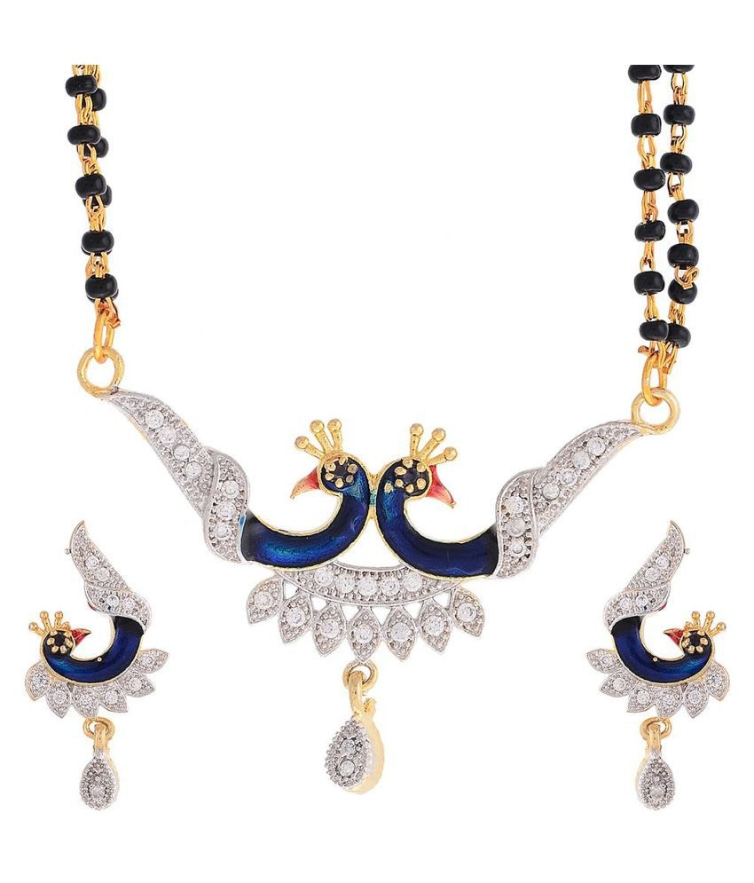 Awww Alloy Gold Plated  Studded Golden Coloured Mangalsutra Set