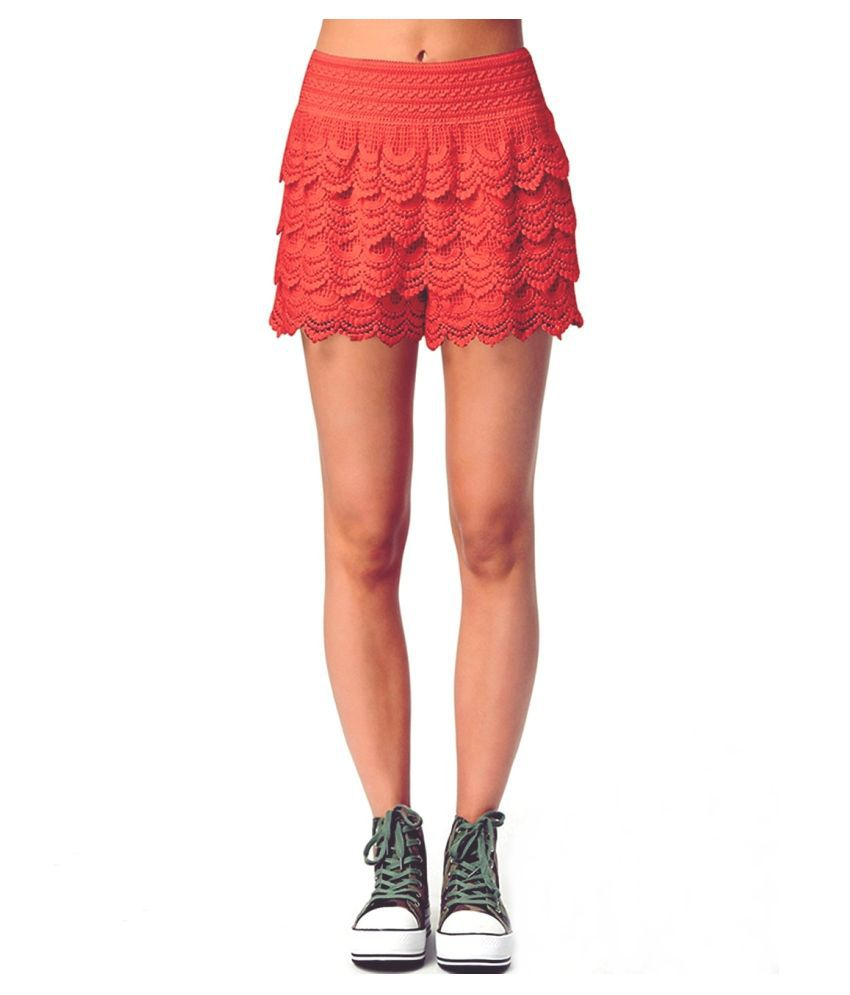 Loverlobby Orange Polyester Shorts