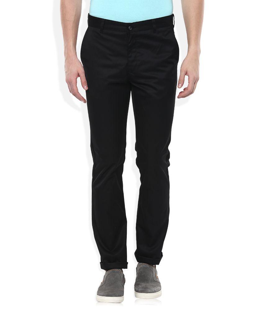 Parx Black Slim Fit Casuals Trousers