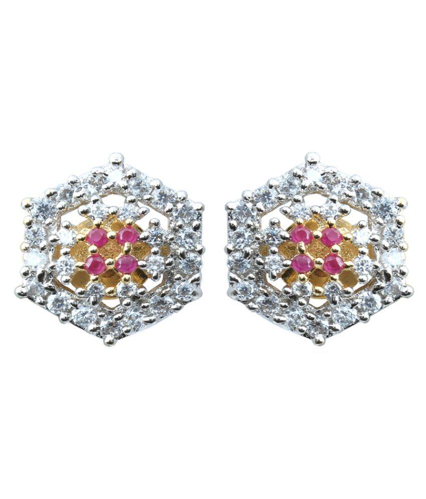 Waama Jewels Cubiz Zirconia Studded Silver Colored Earrings
