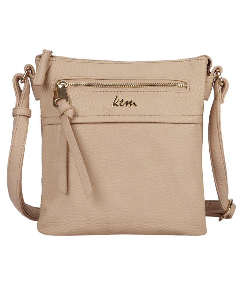 Bagkok Beige Faux Leather Sling Bag