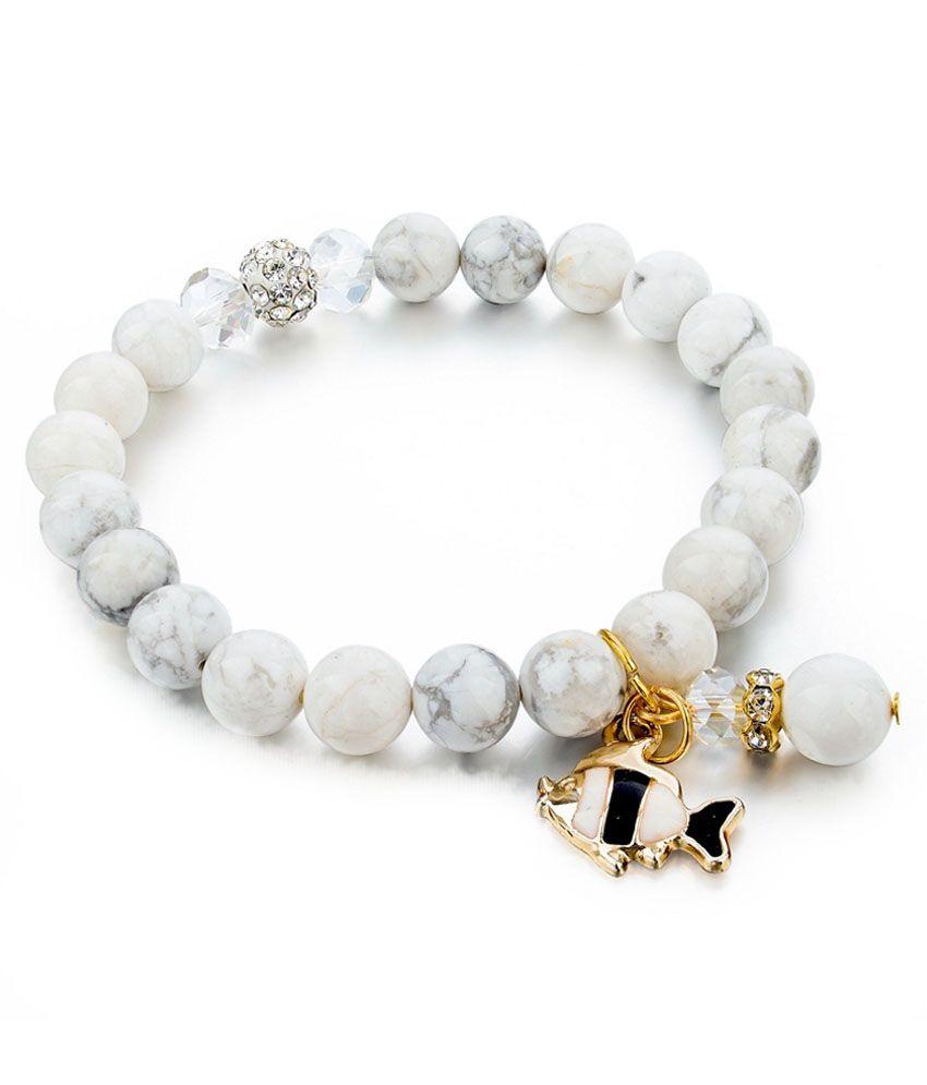 Hot And Bold White Beads Austrian Diamond Studded Bracelet