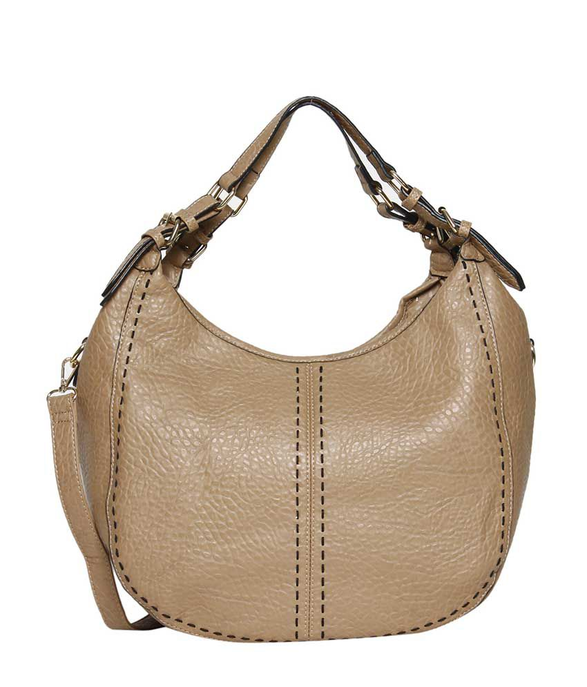 Bagkok Beige Faux Leather Hobo Bag