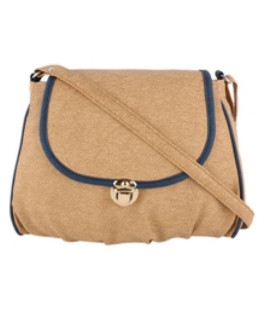 Satchel Beige Fabric Sling Bag