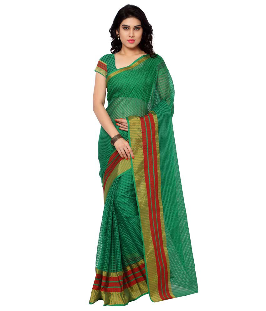 Bahucharaji Creation Green Tissue Saree
