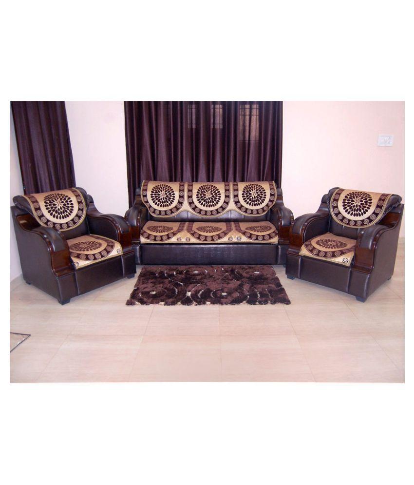 A P Handloom 5 Seater Jacquard Set Of 6 Sofa Cover Set