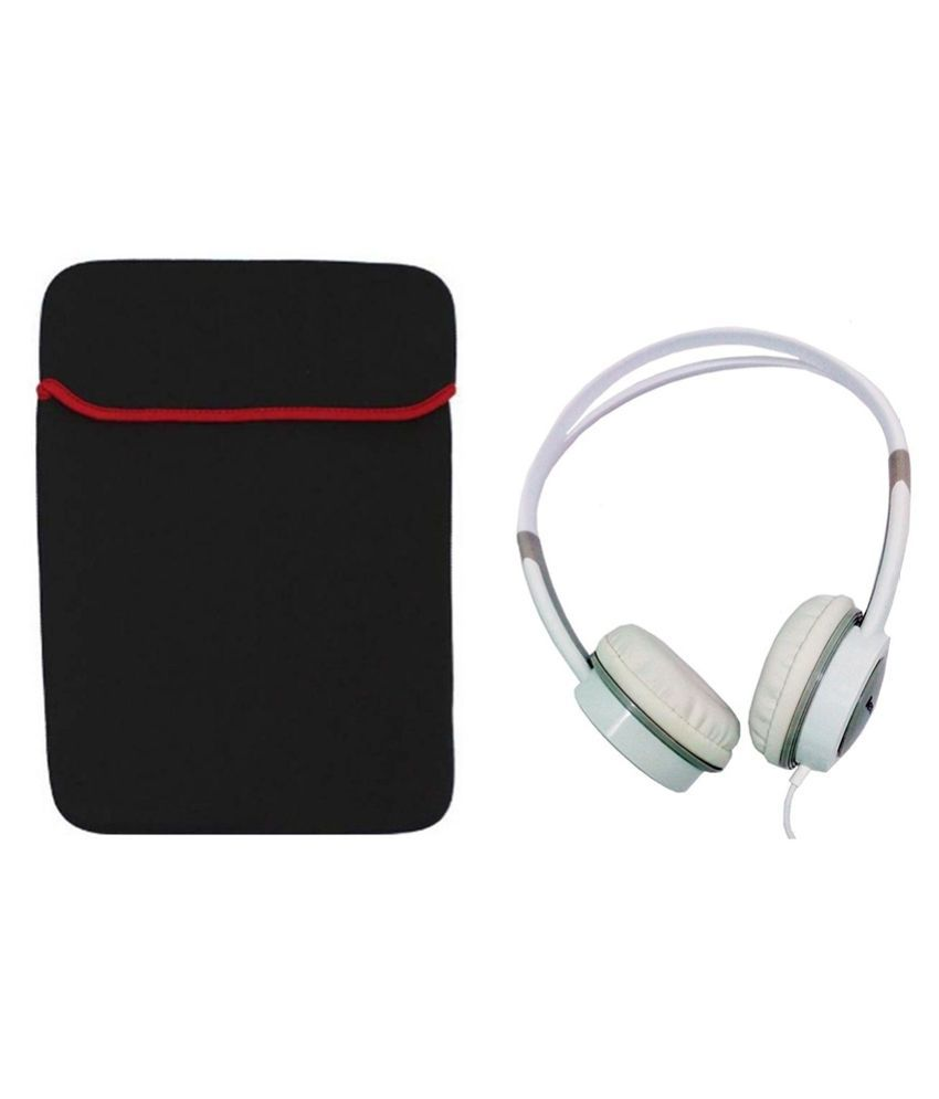 E Micro Combo of  Black Laptop Sleeve with Lenovo  On ear Headset P410